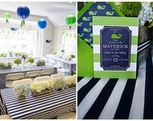 Navy blue and white striped Tablecloths- Reserved Listing