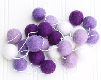 Felt Ball Garland, Pom Pom Garland, Purple, Nursery Decor, Baby Shower Decor, Felt Ball Bunting, Girls Room Garland, Kids Room Garland
