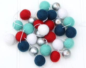 Felt Ball Garland with Metallic Silver, Pom Pom Garland, Nursery Decor, Red White and Blue with Silver, Nursery Decor, Kids Room Garland