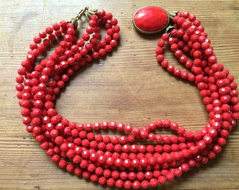 lipstick red 8 strand choker necklace 1950s  1960s vintage
