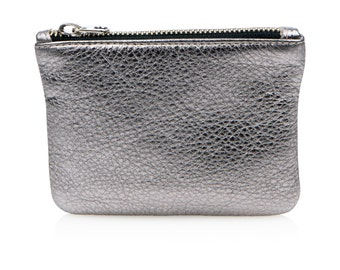 Antique silver leather pouch, leather coin purse, silver credit card holder