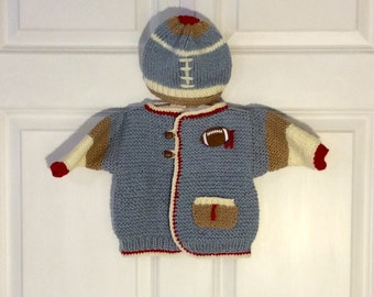 Blue Baby Football Cardigan Sweater Jacket and Bill Hat Set, 3-6 months