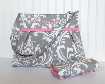 Gray Damask Diaper Bag Set with Pink Lining and Changing Pad Medium Custom Design Your Own Boy or Girl
