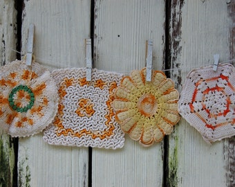 Vintage crochet potholders. Gold. Mustard. Butterscotch. Orange. Farmhouse potholders.