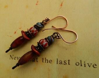 Rustic Tribal  Faceted agate,Vintage Chevron trade beads ,Tribal Gemstone  Earrings