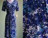 "1950s Blue Flower Print Day Dress - Vintage 50s Dress - 32"" Waist Large - Unworn with Tags"