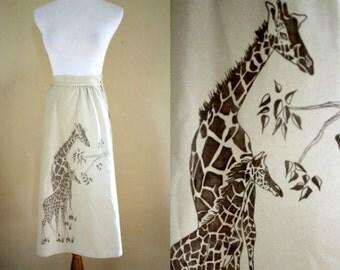 1970's Giraffe Wrap Skirt - Khaki Wrap Skirt - Small Medium Large