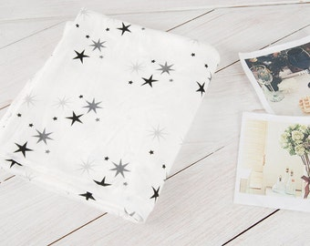 Stars Rib Knit Fabric, Cotton Knit Fabric, Stretchy Fabric - Fabric By the Yard 92820