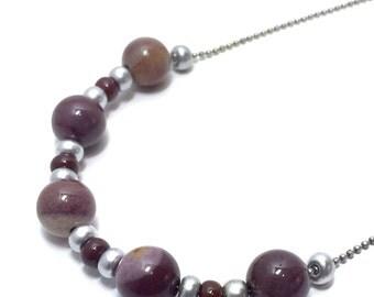Mookaite Jasper Sliding Stone Necklace - Ball Chain