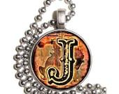"Letter ""J"" Art Pendant, Alphabet Resin Pendant, Vintage Initial  Photo, Silver Nickel Coin Charm Necklace"