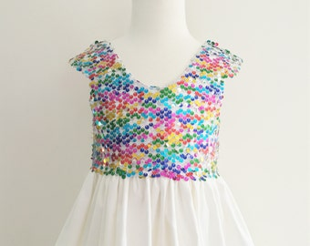 Girls Toddler Party Dress - Rainbow - Special occasion - Children Clothing - Dress- Infant Clothing - Handmade in Australia