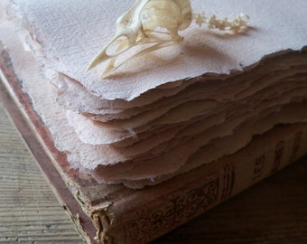 Unique serie - Handmade recycled dyed paper - 10 sheets - Textile dye - Primitive style