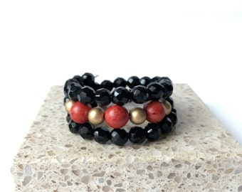 Red and Gold wrap bracelet, Gift for her, Boho Memory Wire Layered Bangle