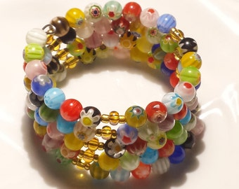 Rainbow Memory Wire, Venetian Glass  Millefiory Bracelet, Motivational Be Yourself Jewelry