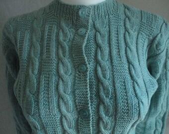 Vintage Handknit Cable Cardigan Sweater Ladies Medium