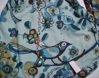 "Crossbody Bag  Reversible Washable "" BLUEBIRDS and NIGHTINGALES "" Loop Purse with Keychain / Bagcharms"