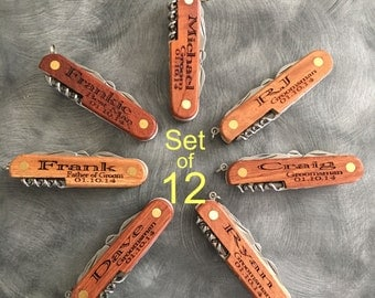 Set of 12 Personalized Multi Tool Pocket Knife/Groomsman Gift/Bridal Part Gift/Custom Knife
