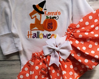 My First Halloween Outfit- Personalized for baby girl. Girls First Halloween with polka dot skirt
