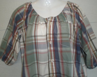 Soft color Peasant Blouse upcycled from a men's shirt, 48 inch Large, green blue plaid, loose shirt, ren faire, boho