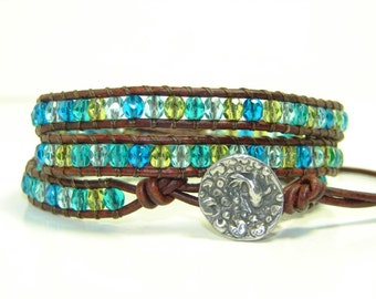 Blue Beaded Leather Wrap Bracelet, Triple Wrap Bracelet,  Multicolored Wrap Bracelet, Beaded Bracelet
