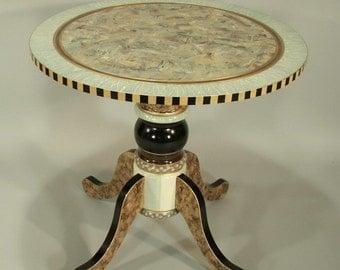 Round Pedestal Table/Large: Aqua-Ivory, Custom Made-To-Order