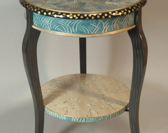 Cabriole Accent Table:  Teal-Grey, Custom Made-to-Order