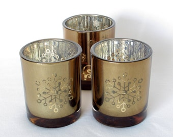 Gold and Silvery Glass Snowflake Candle Holders