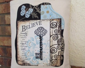 Believe Key Bag Large Tote Canvas