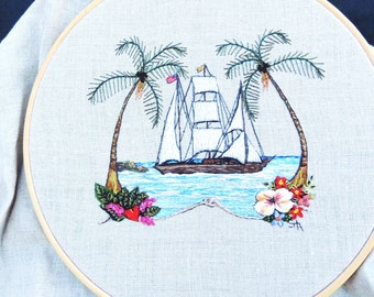 New Hand embroidery folk wall art with ship named Unity fiber art embroidery sailboat with palm trees