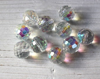 Clear AB faceted glass disco ball beads