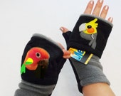 Custom Cockatiel and Sun Conure Fingerless Gloves with Pockets