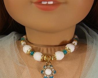 TEAL WHITE Gold Enamel Flower NECKLACE for American Girl Dolls - Glass Beads for Lea, Grace, Spring, Easter