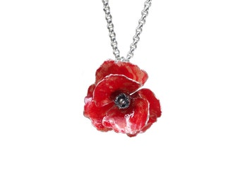 Red sterling silver poppy pendant necklace