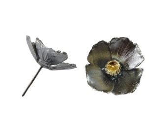 Oxidized sterling silver poppy stud earrings