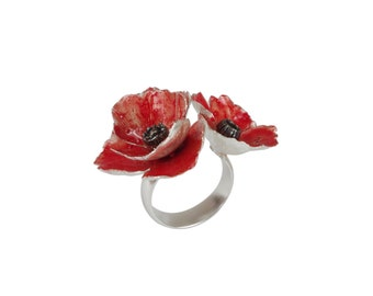 Red sterling silver adjustable poppy ring