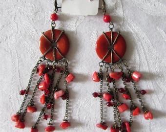Vintage Gypsy Coral Pierced Earrings Dangles retro Boho Orange Silver Retro