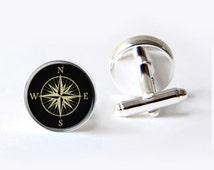 Compass Cufflinks,  Rose Compass Cufflinks, Gift For Dad