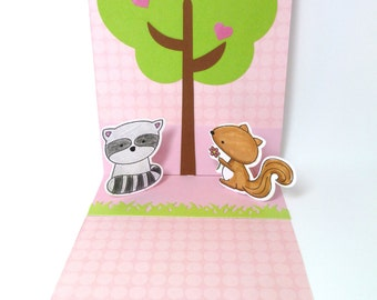 Valentines Day Pop Up Card, Woodland Animals, You Stole My Heart