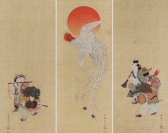Antique Japanese Fine Art Wall Hanging Scroll Painting Chinese phoenix and Dolls Boys in Ancient Chinese Clothes Kakejiku - 1502118