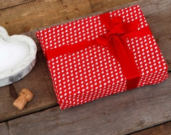 Heart Print Reusable Fabric Gift Wrapping with attached Red Ribbons