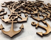 24 Wood ANCHOR CHARMS - Natural Sustainable Wood - Make the Cutest Earrings!