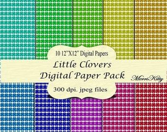 "65% OFF INSTANT DOWNLOAD - Digital Scrapbook Paper Pack - Little Clovers - No.20 - 10 12""x12"" Digital Papers - Card Making"