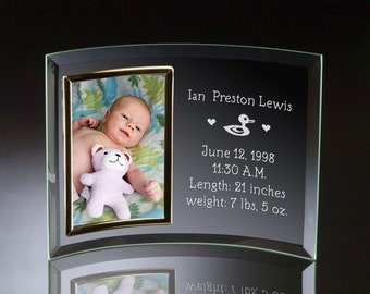 Engraved Birth Announcement Curved Glass Photo Frame