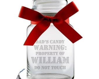 Customized Glass Candy Jar for Dad