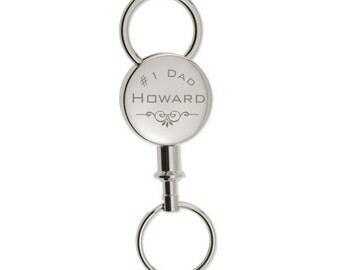 Monogrammed #1 Dad Keychain