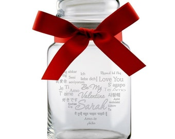 Customized Valentine's Day Glass Candy Jar