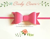 Hot Pink Leather Baby Bow Headband, Baby Headbands, Infant Headbands, Baby Girl Headbands, Infant Bow, Baby Bow, Girl Bow,Girl Headbands