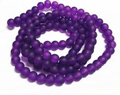 1 of 31 inch strand 8mm glass puple frosted glass beads-over 100 beads-7887L