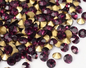 Wholesale 288pc Machine Cut Pointed back Foil Rhinestone 6mm Amethyst-7538C