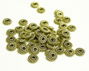 50pc 5mm antique gold finish metal round spacer/bead-5178A